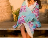 Throw/Blanket, Orchid Valley in Sky Blue Rosey Pinks with Luxurious Faux Fur