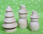 Wooden Winter Wonderland - Set of Three(3)- DIY Unpainted Two Snowmen and a Pine Tree