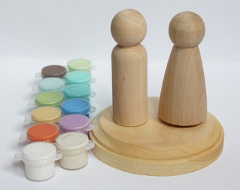 Pick Your Stand + Paint! DIY Wedding Cake Topper Kit- Unpainted Wood Bride and Groom Doll Couples