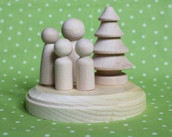 DIY Nature Family - Peg Doll Cake Topper PLUS PAINT kit- Unpainted Wood Mom Dad and Kids