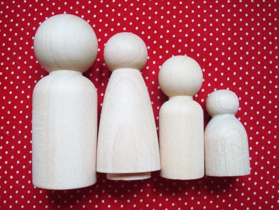 Unpainted Wood Doll Family- DIY Wooden Dad, Mom, Kid, and Baby Pegs