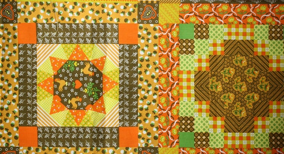 Retro Faux Quilted Vintage Tablecloth Fabric - 1 1/2 yard (30 x 54)