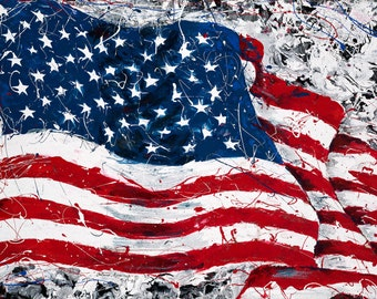 American Flag art, Red White and Blue,  September 11th,  inspired , Patriotic painting, Pittsburgh artist