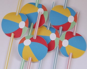 INSTANT DOWNLOAD - Beach Ball Party Straw tags/Stickers/Favor tags
