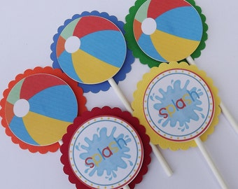 INSTANT DOWNLOAD - Beach Ball Pool Party Cupcake Picks Toppers