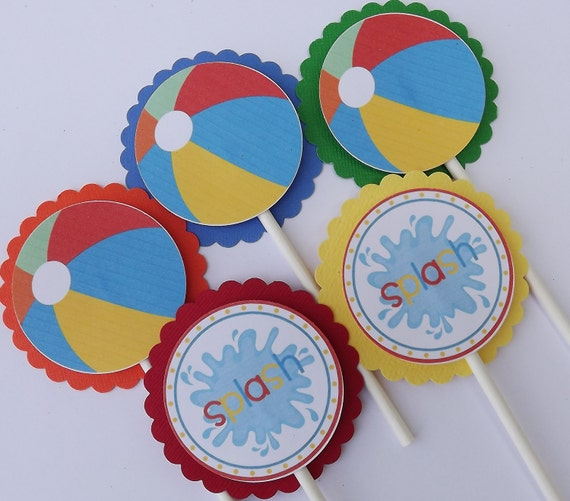 Beach Ball Pool Party Cupcake Picks Toppers
