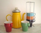 Viintage Enamel Stove Top Percolator and Set of 5 Colorful Stacking Cups