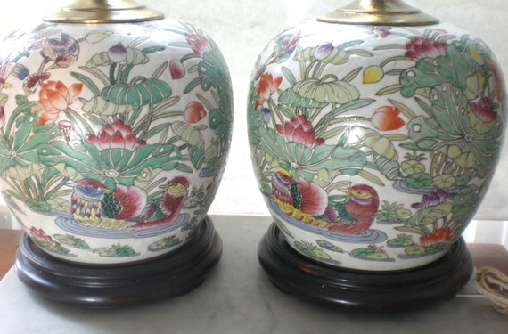 SALE Pair Vintage Chinoiserie Hand Painted Jar Lamps