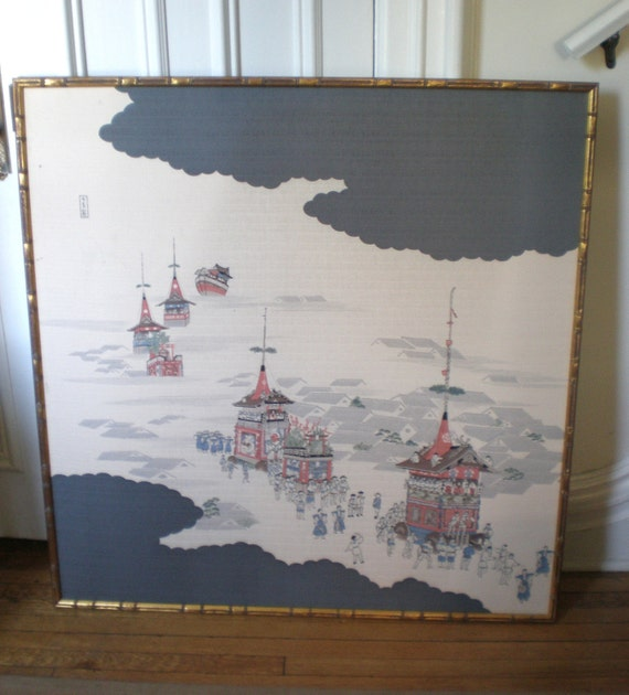 RESERVED M-Huge Mid Century Printed Chinoiserie Silk Panel /Gold Faux Bamboo Frame