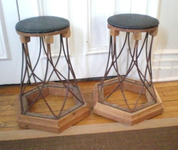 Pair Rustic iron Stools / Handmade garden Stool