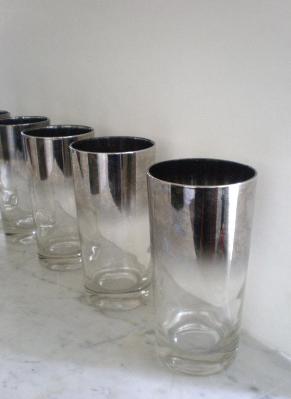 Ombre Silver Fade Rim Glasses / High Ball Barware