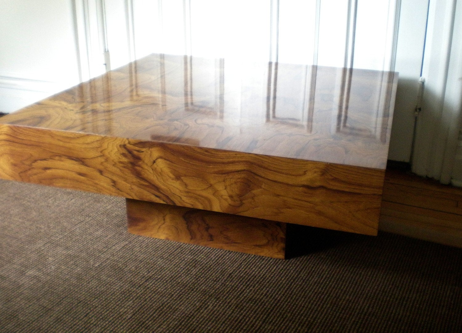 Large Modern Floating Burlwood Coffee Table Faux Bois