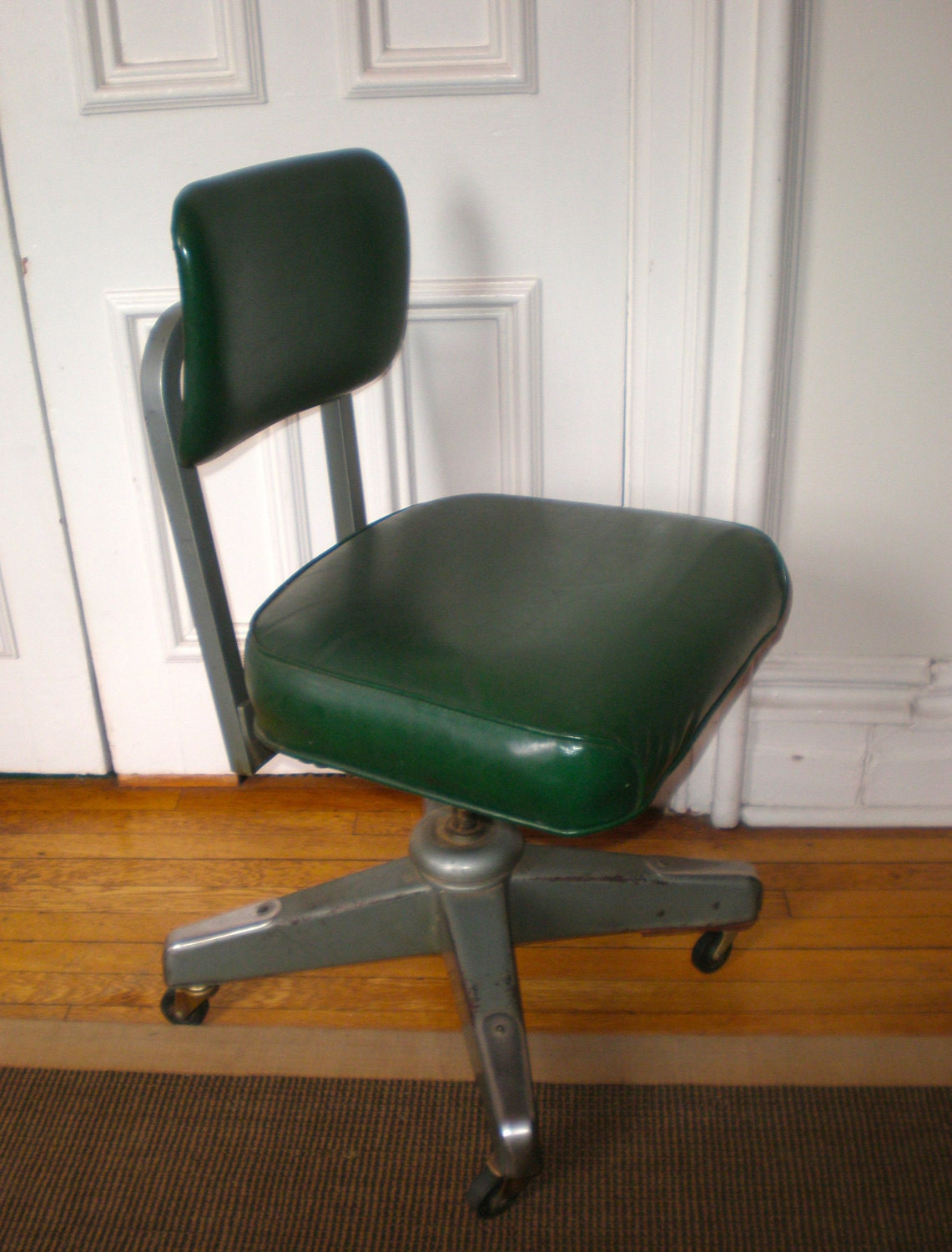 Mid Century Atomic Industrial Steel Steno Office Chair 1966