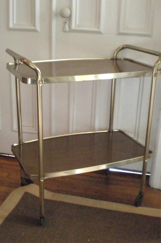 mid century cosco metal bar cart faux bois. Black Bedroom Furniture Sets. Home Design Ideas