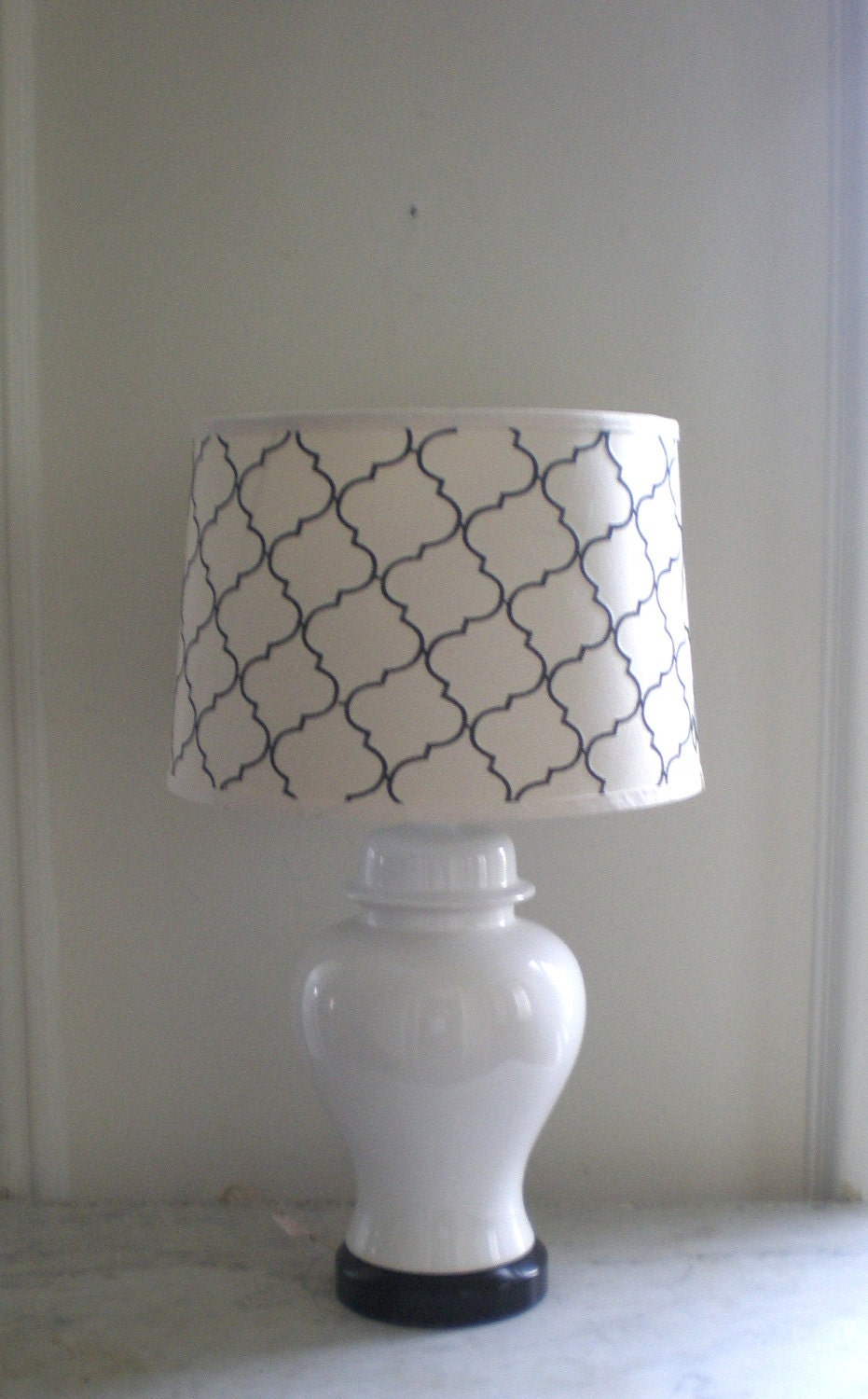 White Ginger Jar Lamp Chinoiserie