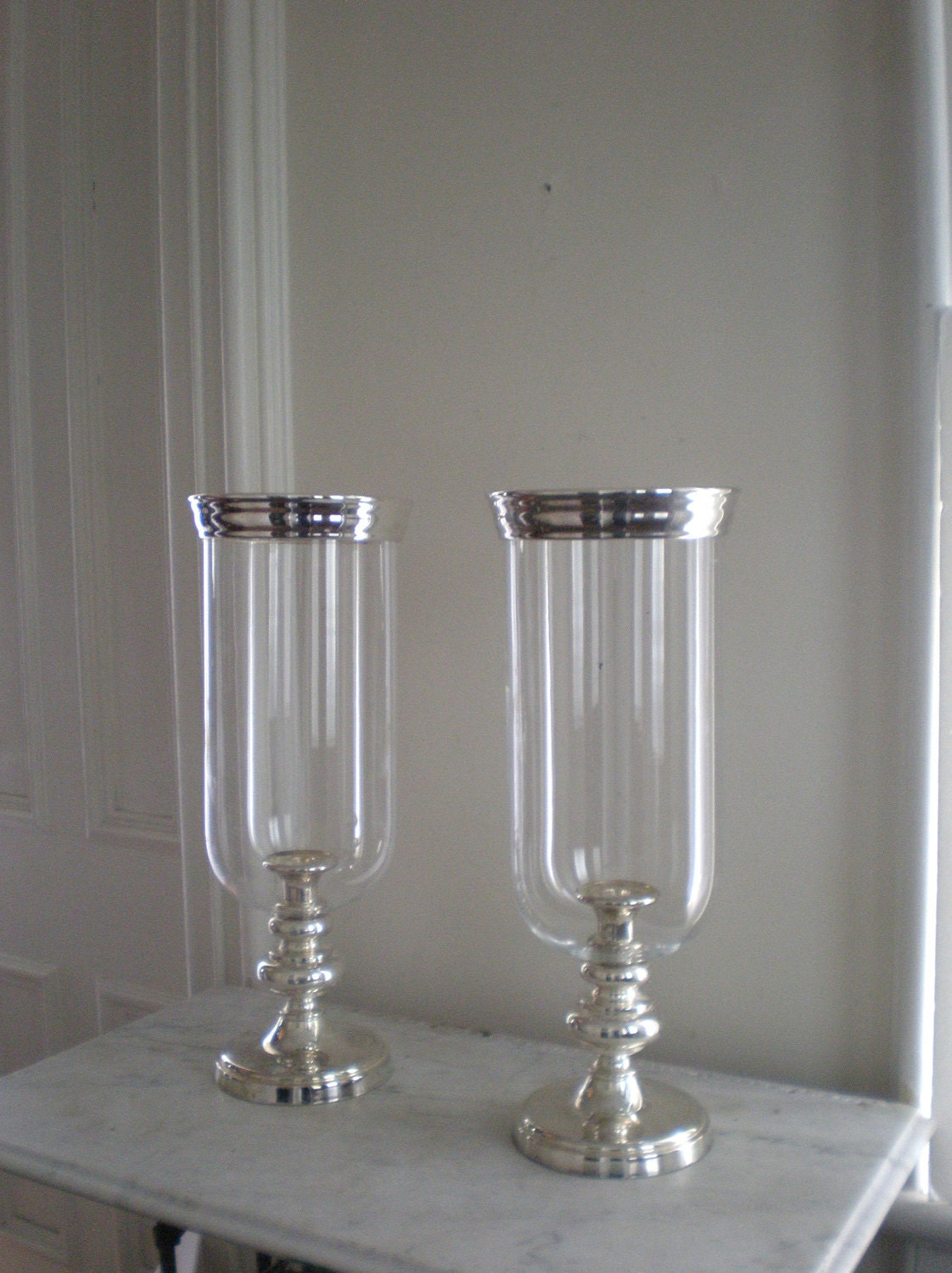 Reserved Silver Plate Hurricane Candle Holders Godinger