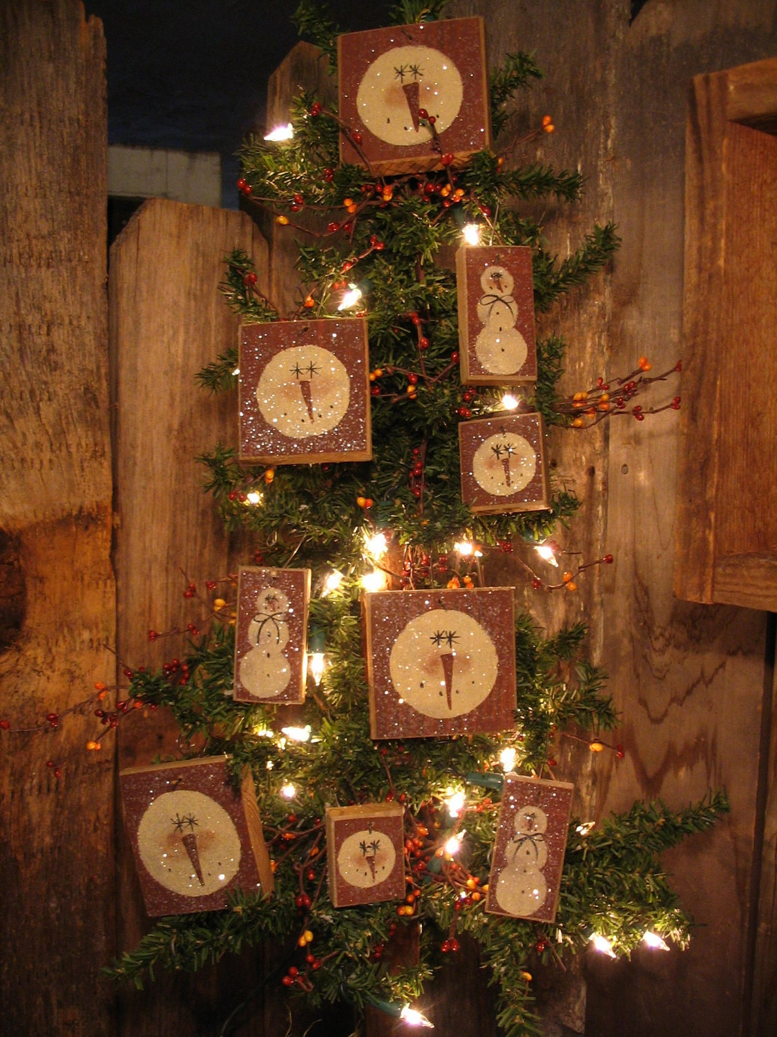 9 Snowmen Primitive Christmas Tree Ornies By
