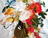 Vintage Crewel Work / Floral Still Life / Large / Erica Wilson 1980