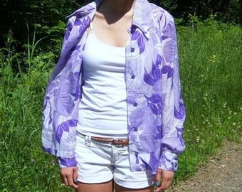 Vintage Groovy Purple Shirt 1960s / Semi-Sheer Tropical Print Breezy Button-Front Blouse / Lavender Lilac Violet Cover-Up BoHo Beach wear