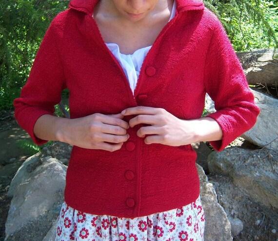 Vintage Red Jacket '50s-60s / Sweet Knit Valentine Sportswear