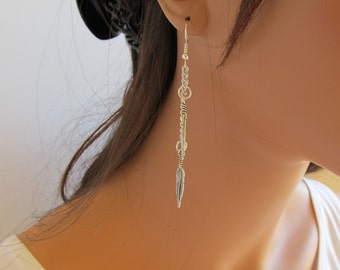 Silver Earrings Chain Feather Charms Silver