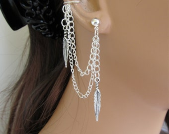 Ear Cuff Antiqued Silver Feather And Chains Gift Under 15 Handmade