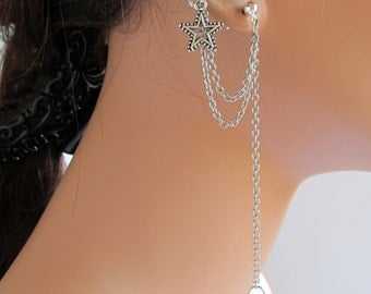 Chain Ear Cuff Wrap Cartilage No Pierced Silver Star Earrings Handmade Gift Under 20