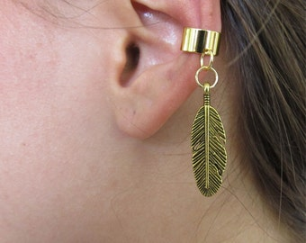 Antiqued Gold Ear Cuff Cartilage Non Pierced Feather Charm