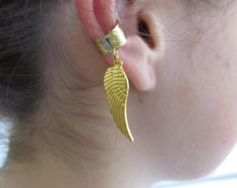 Ear Cuff Wrap Cartilage Non Pierced Gold Wing Charm Gift Under 5