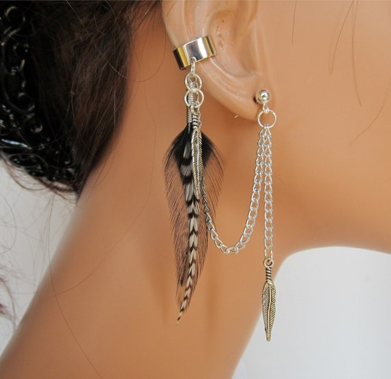 Boho Feather Ear Cuff Black Rooster and Grizzly Handmade Original Design