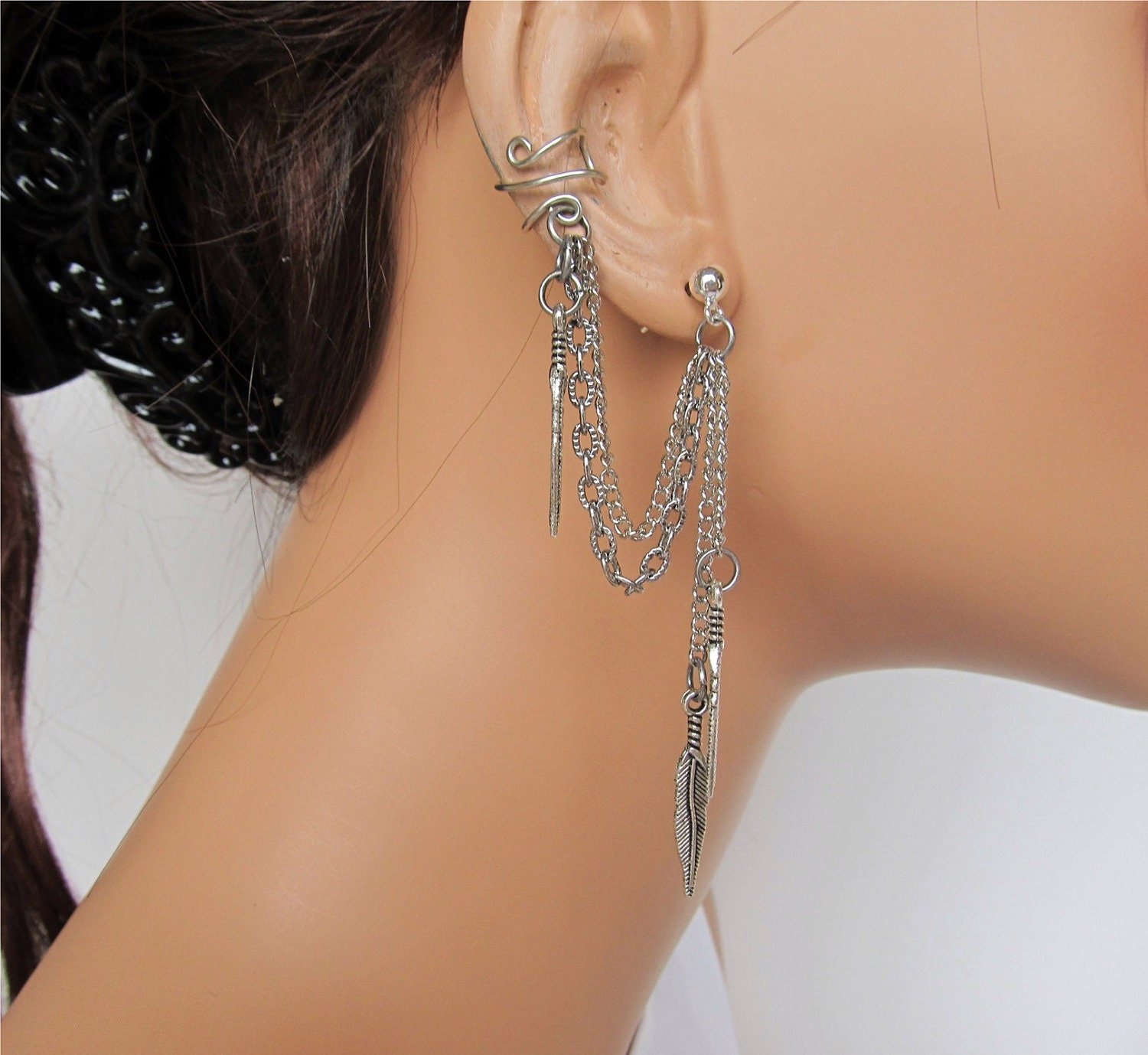 non pierced ear cuff wrap chain silver by