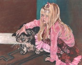 Cat and Little Girl Cute  Giclee PRINT on canvas, Print of Original Acrylic Painting,Fine Art, Pink blonde girl,big tabby cat