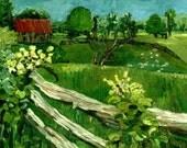 Original Painting 8X10,Country Landscape.Original Oil Painting