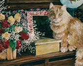 """Cat with Roses and Still Life Painting PRINT ,"""" Old Roses"""""""
