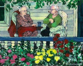 Home Sweet Home Art Print of original Acrylic Painting by Patty Fleckenstein, 8X10, Sweet Old Couple sitting on their porch