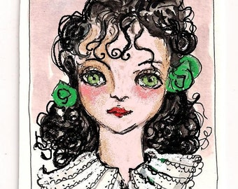 Green Eyed Girl ACEO Print of original watercolor and digital painting