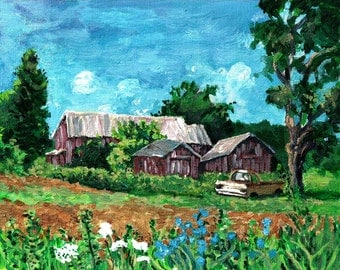 "Original Painting-Acrylic on Canvas -""A day in June""-Country Summer Landscape"