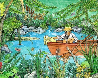 Watercolor Art Print - Cute Picture- Man , nature,  dog, boat, water, pond, summertime, botanical ,colorful,whimsical, by Patty Flecknstein