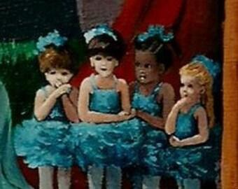 "ACEO signed print "" - Mini Print of original acrylic painting-""Little Blue Ballerinas"""