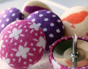 Thumbtacks,6 Push Pins,Pushpins,Thumb Tacks,Purple,Magenta,Pink,Cream,Gift,Decorative Pushpins,Birds,Bulletin board,Pretty Thumbtacks,