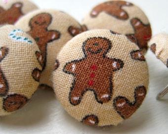 Pushpins,6 Thumbtacks,Push Pins,Thumb Tacks,Brown,Tan,Decorative Pushpins,Stocking Stuffer,Home Decor,Gingerbread Men,Gift,Holiday
