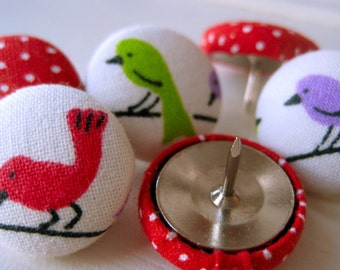 Push Pins,Pushpins,6 Thumb Tacks,Thumbtacks,Red,Lime Green,Purple,White,Decorative Pushpins,Office,Gift,Birds,Red Birds,Bulletin Board