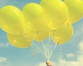 YELLOW BALLOONS, fine art photograph, home decor, nursery childrens wall art