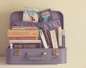 READING IS A JOURNEY, photograph, home decor, books, vintage suitcase, purple,