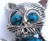 GERRYS Faux Turquoise Kitty Cat Jellybelly Cabochon Figural Pendant Brooch Vintage Costume Jewelry