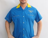 Vintage 80s Blue and Yellow Bowling Shirt with Peppermint Patty embroidery size LARGE