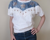 Vintage 80s Fringed Cowgirl Blouse Faux Acid Wash Applique and Copper Beads