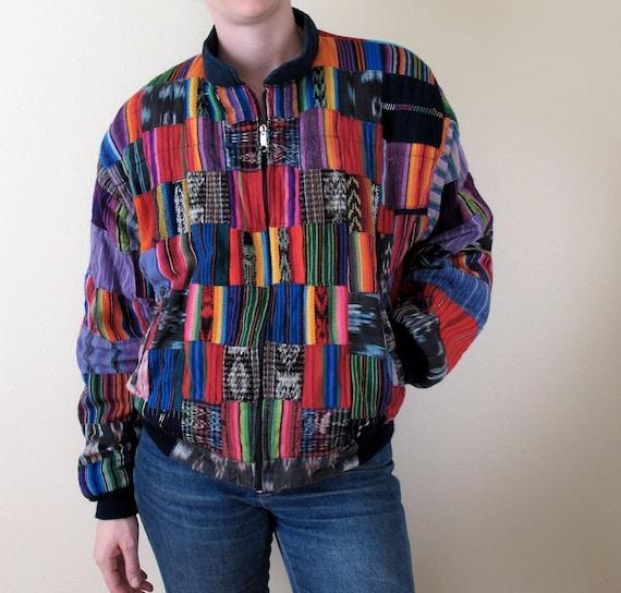 Vintage 80s Guatemalan Patchwork Jacket Vibrant Colors