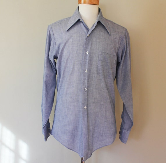 70s Vintage Men's Lightweight Dress Shirt - MEDIUM / large