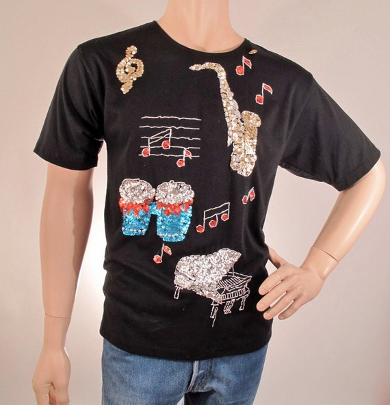 Vintage '80s Novelty T-Shirt with Sequin Instruments size LARGE
